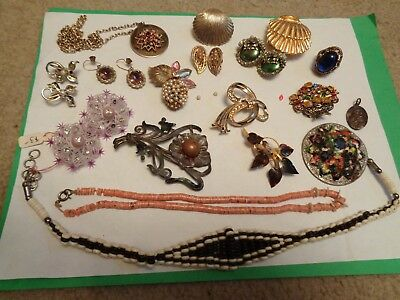 Vintage Antique Lot of Celluloid Rhinestone Beaded Necklace Earrings Pins Repair