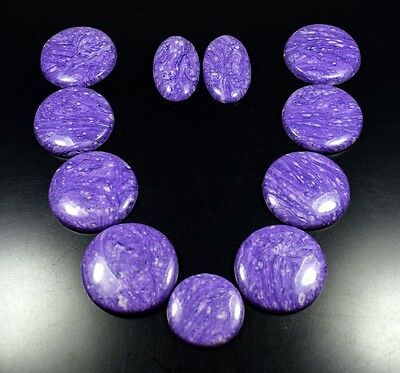 460.40  Cts. Gorgeous Set Of Purple Charoite Treated Round Cabs  Loose Gems
