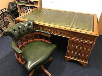 Twin pedestal leather top desk and leather captain's chair
