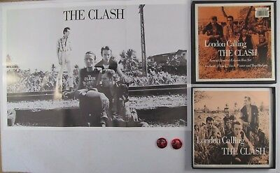 "London Calling The Clash Vintage 1988 Vinyl 7"" Box Set Record Poster Two Badges"