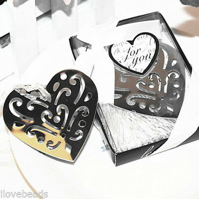 1PC Stainless Steel Hollow Out Heart Bookmark Silver Tone Present Gift