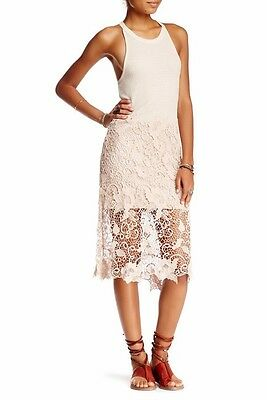 Free People Nora Lace Tank Dress Size S Cream Color Midi