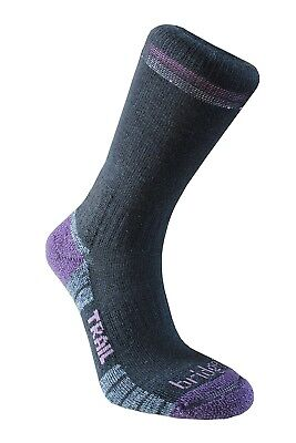 (Size 5 - 6.5, Black/Purple) - Bridgedale Women's Woolfusion Trail Socks
