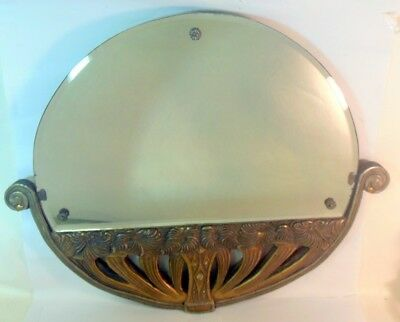 Art Deco French Mirror Bronzed Gesso Stylized Flowers Basket Sue et Mare