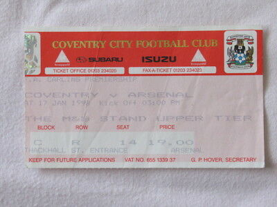 Football Ticket Used Coventry v Arsenal 1997/98