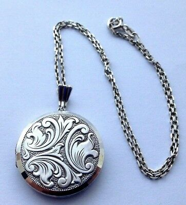 Large Round Vintage Solid Silver Georg Jensen Opening Locket Necklace