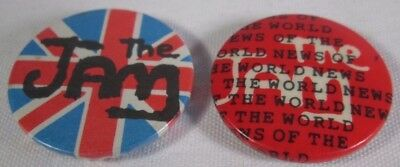 2 x The Jam Original Vintage Early 1980s Badges Pins Buttons Punk