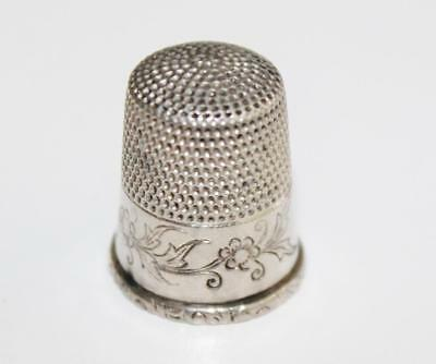 ANTIQUE MARKED STERLING SILVER SEWING THIMBLE with FLORAL GARLAND, SIZE 11