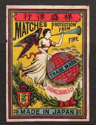 MATCHES PROTECTION FROM FIRE - CHANG SHING & Co: Japan Matchbox label (M102)