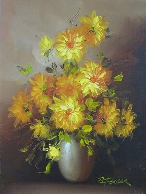 Yellow Flowers Vase Oil Painting Original Signed By Artist Canvas