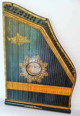 Antique Vintage Zither, The Special Columbia Zither by the Phonoharp Company