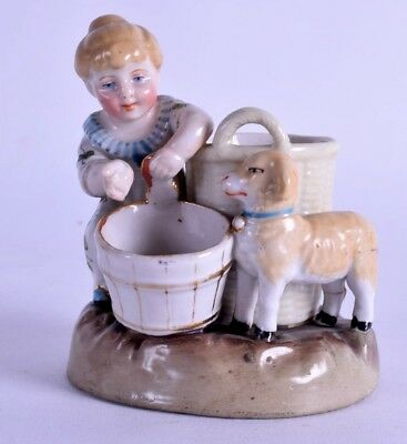antique conta boehme porcelain match holder - german figurine - girl with lamb