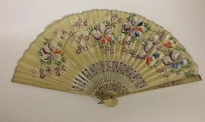 Antique Silk And Bamboo 19th Century Hand Painted Chinese Fan