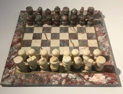 Antique, Vintage Carved Stone / Marble / Alabaster Complete Chess Board & Pieces