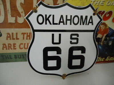 Vintage Oklahoma Route 66  Porcelain Road Sign