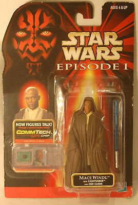 Star Wars Episode 1 Mace Windu 1998 Hasbro Action Figure with COMMTECH Chip