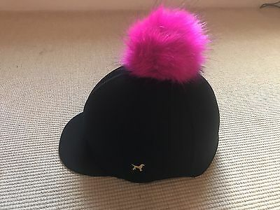 Faux fur Pom Pom Riding Hat Cover Silk Equestrian Eventing Cross Country 2 Poms