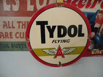 1940's Tydol Flying A Gasoline  Porcelain Gas Pump Sign