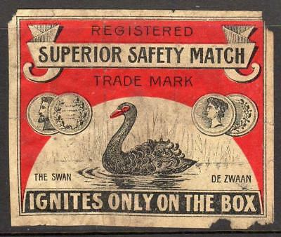 THE SWAN, SUPERIOR SAFETY MATCH: Netherlands Matchbox label (M72)