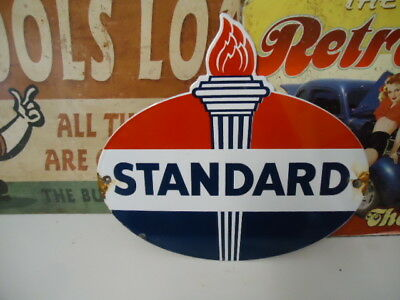 Vintage Standard Oil & Gas Company (Indiana)  Porcelain Gas Pump Sign