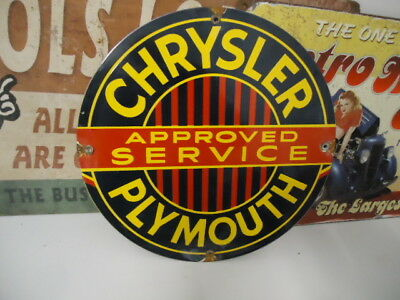 Vintage Chrysler - Plymouth Approved Service Porcelain Dealership Sign
