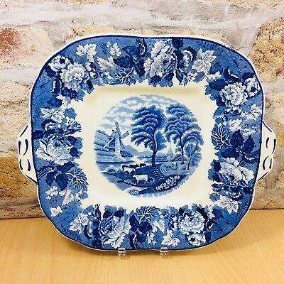 """Vintage Enoch Woods Ware """"english Scenery"""" Blue & White Square Serving Plate"""