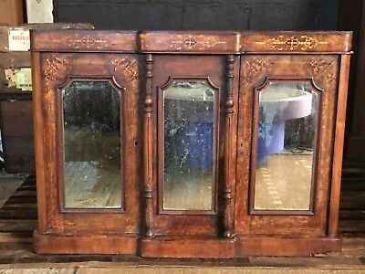 A Superb Victorian Walnut And Marquetry Decorated Break Front  Credenza
