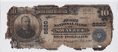 $10.00 1902 PB National Swayzee Indiana IN Extremely RARE Only 4 on Census!