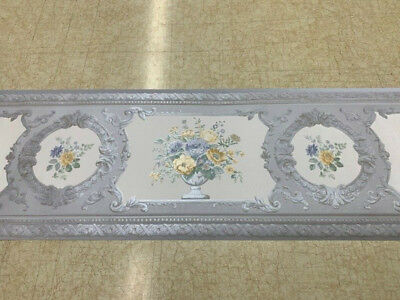 Victorian Silk Blue And Yellow Fl Wallpaper Border