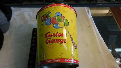"RARE Vintage Curious George Metal Garbage Trash Can 10.25"" H x 8.5"" W VG COND!!!"