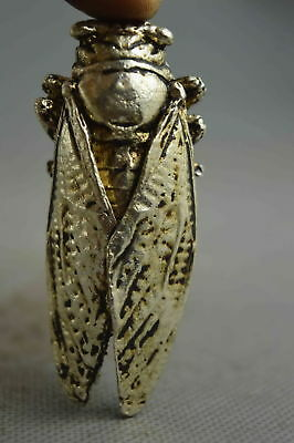 Collectable Handwork Old Miao Silver Cavre Vivid Cicada Buddhism Lucky Statue