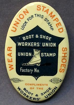 circa 1910  BOOT & SHOW WORKERS UNION advertising OVAL celluloid pocket mirror *