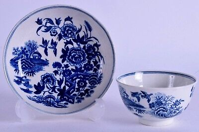 18th century worcester blue & white porcelain tea bowl & saucer - fence pattern