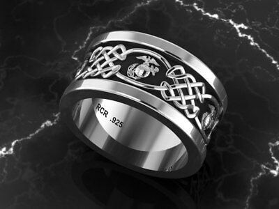 Marine Corps Solid Sterling Silver Wedding Ring S@G#T%