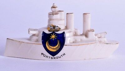 rare crested ware porcelain battleship - WWI - portsmouth - military - arcadian