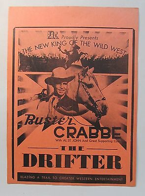 movie broadside 1944 BUSTER CRABBE in THE DRIFTER