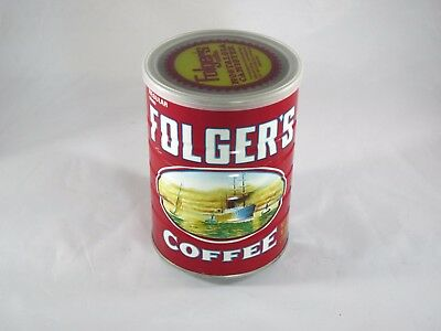 Vintage collectible folgers coffee tin - Opened - 16 Ounce - Copyright 1980