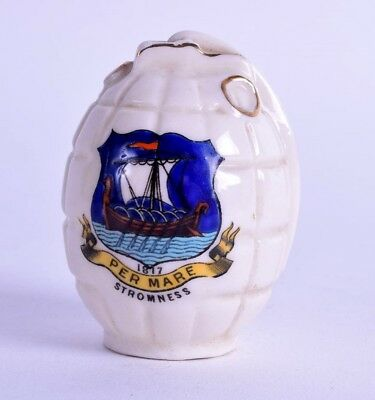rare crested ware porcelain hand grenade  - WWI  - stromness - military arcadian