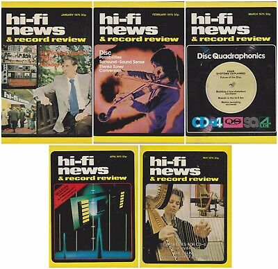 5 Vintage Issues Hi-Fi News & Record Review Magazines – Jan Feb Mar Apr May 1975
