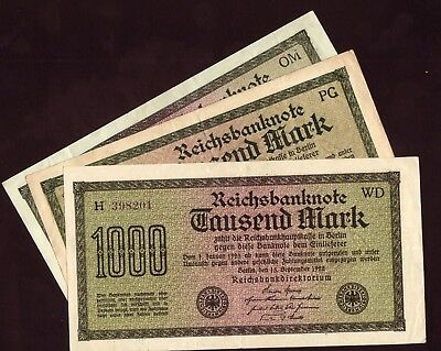 1922 Germany 1000 Mark Lot 3 Vintage Paper Old Money Antique Banknote Collection