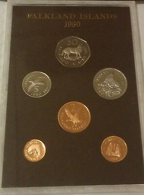 UK Falkland Islands Coin Proof Set 1980 Rare!