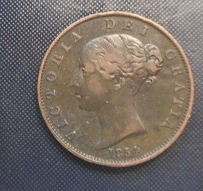 Great Britain 1854 Victoria  Halfpenny good detail  Coin