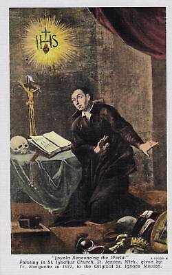 Wickman, Vintage Religious Postcard ~ Loyola Renouncing The World, Skull, Cross
