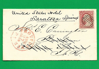 3 cent FANCY cancelled stamp  AUG 27  1859  Providence, RI. UNITED STATES HOTEL