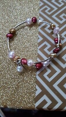 Vantel pearls  RETIRED Very Berry Wrist candy with 7 WHITE pearl