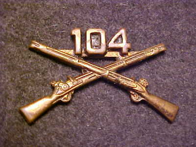 Rare Ww1 Bronze Army 104Th Infantry Regiment Officer Collar Insignia Snowflake