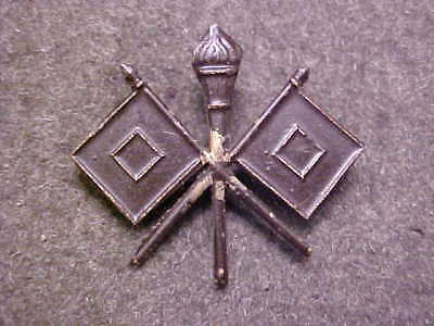 Rare Ww1 Bronze Long Pin Us Army Signal Corps Officer Collar Insignia