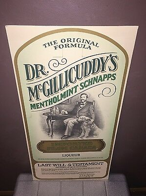 """DR. McGILLICUDDY'S MENTHOLMINT SCHNAPPS Cardboard Counter Sign 28"""" N.O.S. 1970's"""