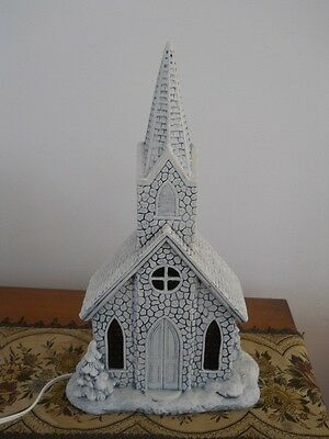 Beautiful Hand Crafted Ceramic Church with Stained Glass Windows Light