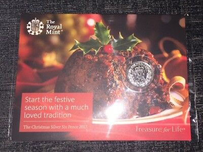 2017 Royal Mint Silver Sixpence-Christmas Six Pence